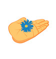 people hand with flower vector image vector image