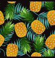 pineapple seamless pattern with palm leaves on vector image vector image