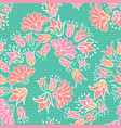 pink orange flowers seamless repeat pattern vector image vector image