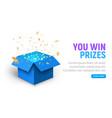 prize gift box confetti explosion vector image