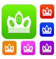 queen crown set color collection vector image vector image
