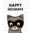 raccoon cartoon icon Merry Christmas vector image