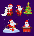 santa clauses set icons snow chimney tree vector image vector image