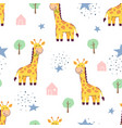 seamless pattern cute giraffe vector image