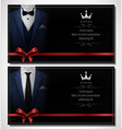 set blue tuxedo business card templates and pl vector image