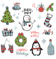 set cute and simple hand drawn christmas vector image vector image