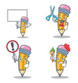 set of pencil character with bring board barber vector image