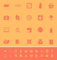 Sewing cloth related color icons on orange vector image