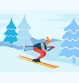 skiing downhill winter hobcharacter in woods vector image