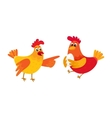 Two funny cartoon chickens pointing to something vector image vector image