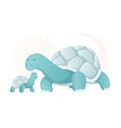two walking turtle animals mom and bacartoons vector image vector image