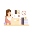 Unhappy Woman Office Worker In Office Cubicle vector image vector image