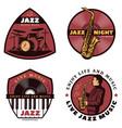 vintage colored live jazz music emblems vector image vector image