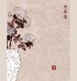 vintage japanese vase with chrysanthemum flowers vector image
