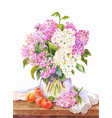 watercolor still life with bouquet lilac and vector image