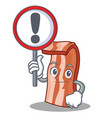 with sign bacon character cartoon style vector image