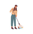 woman with rake gathering garbage trash isolated vector image vector image