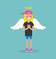 young female character wearing angel costume vector image vector image