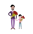 Father and kid together character vector image