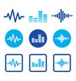 Sound wave music blue icons set vector image