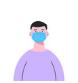 a white man wearing medical mask isolated vector image vector image