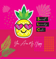 abstract pineapple emoji with heart sunglasses vector image