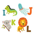alphabet with animals vector image vector image