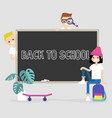 back to school a group students standing and vector image