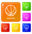 basketball icons set color vector image vector image