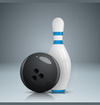bowling game realistic icon vector image