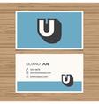 business card letter U vector image vector image