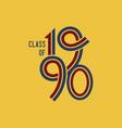 class 1990 logo retro yellow background