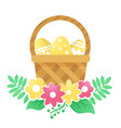 color basket with easter eggs and flowers on a vector image vector image