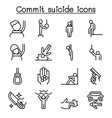 commit suicide icon set in thin line style vector image vector image
