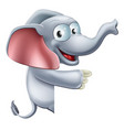 cute pointing elephant vector image