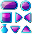 different shapes of buttons in purple and blue vector image vector image