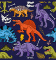 dinosaurs seamless pattern fashion design vector image