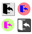 exit logout and output outlet out flat icon vector image vector image