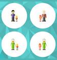 flat icon family set of grandma grandchild son vector image vector image