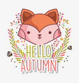 fox face hello autumn design icon vector image