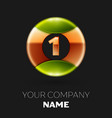golden number one logo symbol in the circle vector image vector image