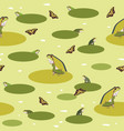 green pattern with frog and butterfly vector image