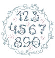 handwritten blooming numbers vector image