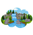hippos playing in waterfall vector image vector image