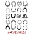 Isolated horseshoe symbols set vector image