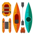 Kayak and raft boats vector image