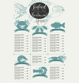 menu with price list for a seafood restaurant vector image