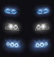 modern car glowing headlights set vector image vector image