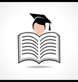 Open book icon with graduate student vector image