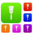 paint brush set collection vector image vector image